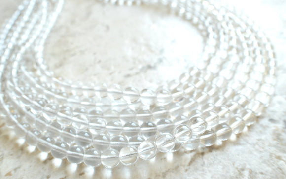 Clear Statement Necklace Multi Strand Beaded Necklace Bridesmaid Gifts - Michelle