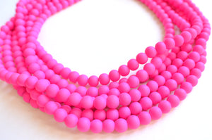 Neon Pink Necklace, Statement Necklace, Rubber Bead Necklace, Matte Necklace, Gift For Her- Michelle