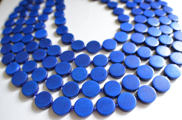 Royal Blue Statement Necklace Wood Beaded Necklace Chunky Multi Strand Necklace Gifts For Women - Charlotte