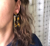 Tortoise Shell Statement Earrings Big Lucite Earrings Acrylic Large Earrings - Louise