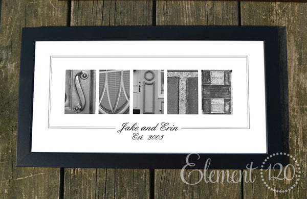 personalized alphabet art name frame 10x20 modern great for anniversaries and bridal showers