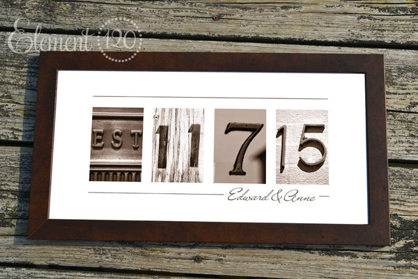 personalized wedding gift number photo art custom sepia wedding date wedding gift for couples