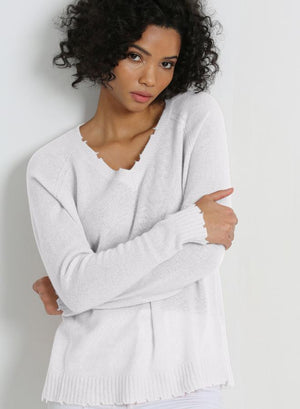Fine Cotton/Cashmere Distressed L/S V Neck