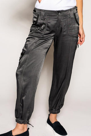 Marrakech Corey Silk Cargo Pant (Licorice)