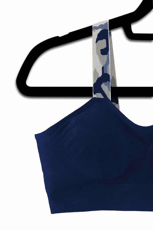 Blue Camo (attached to our navy bra)