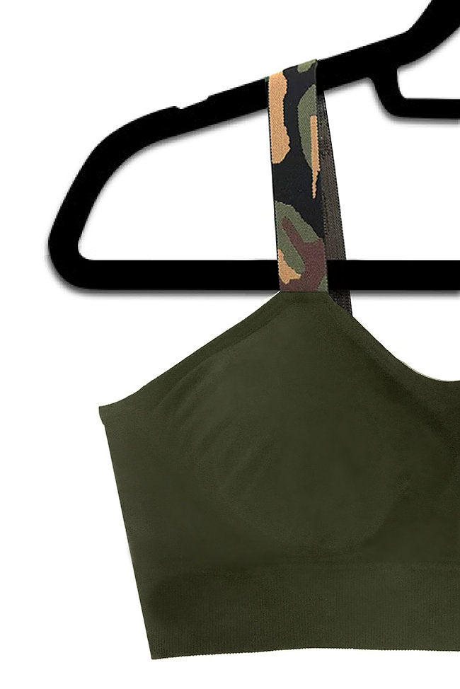 Olive Green Camo Bra (attached to olive bra)