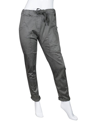 Ainsley Stretch Cotton Pocket Roll Up Pant