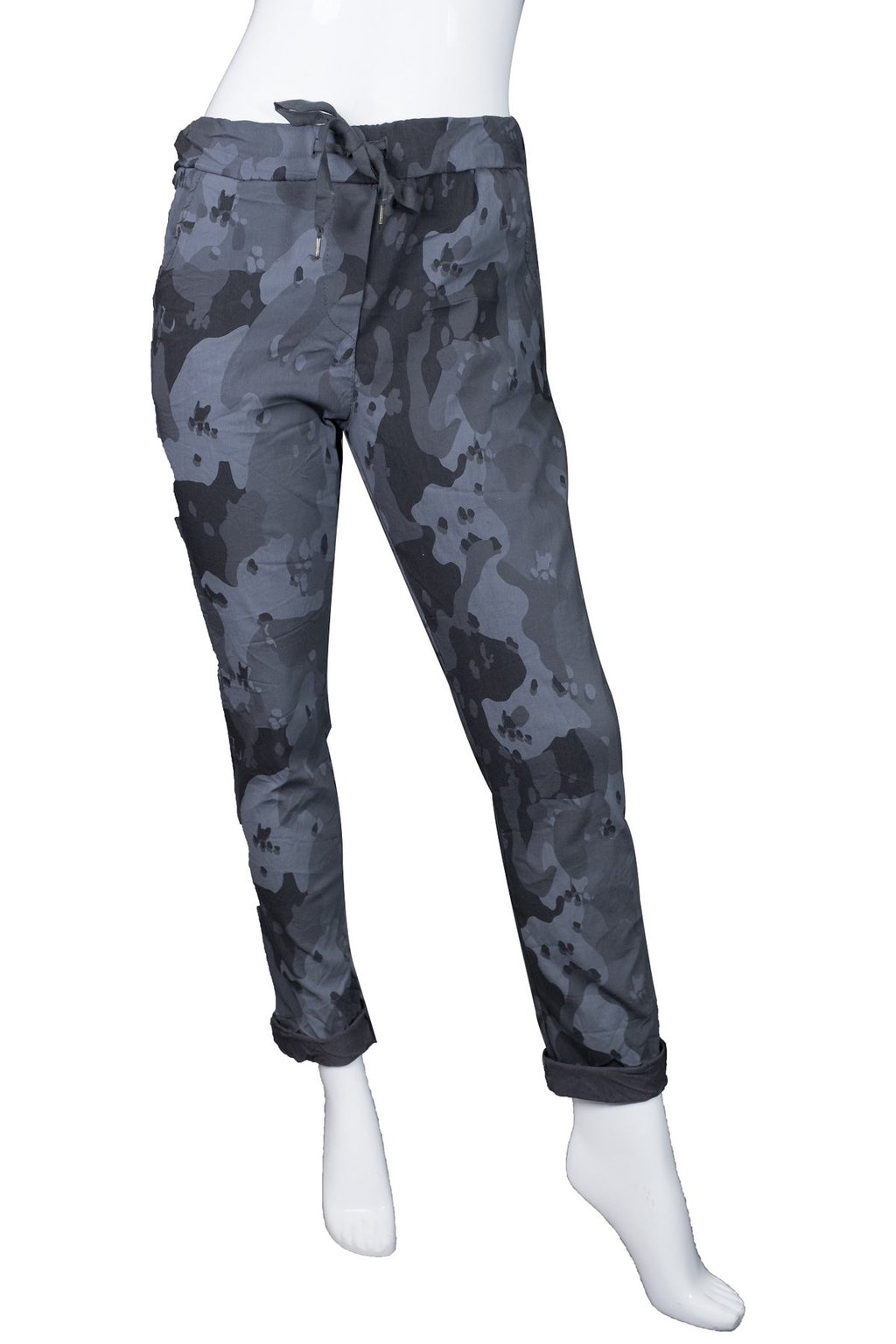 Kaley Camo Stretch Cotton Tie Waist Pant