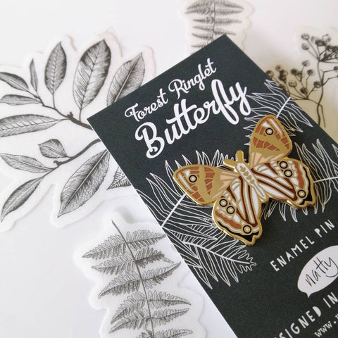Forest Ringlet Butterfly Enamel Pin