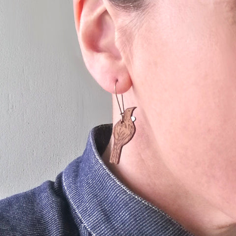 Hanging Tui Rimu earrings