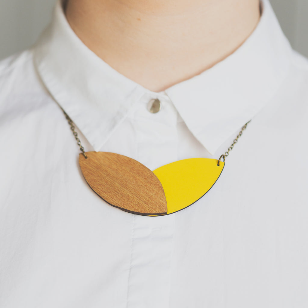 Double Leaf Necklace - Reversible Yellow/Teal