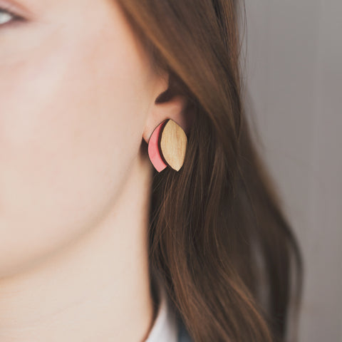 Double Leaf  Rimu/Colour earrings