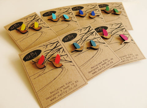Kereru bird Rimu earrings