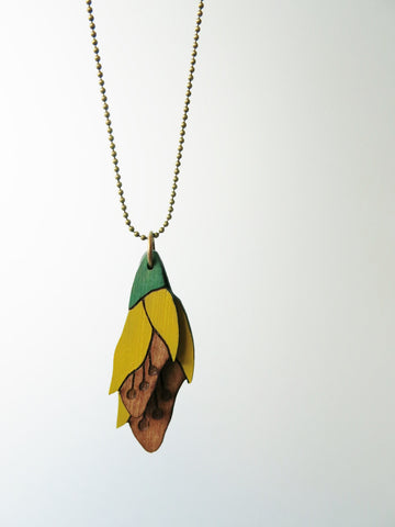 Kowhai Flower Rimu Necklace