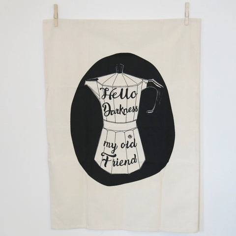 Hello Darkness my Old Friend Tea towel