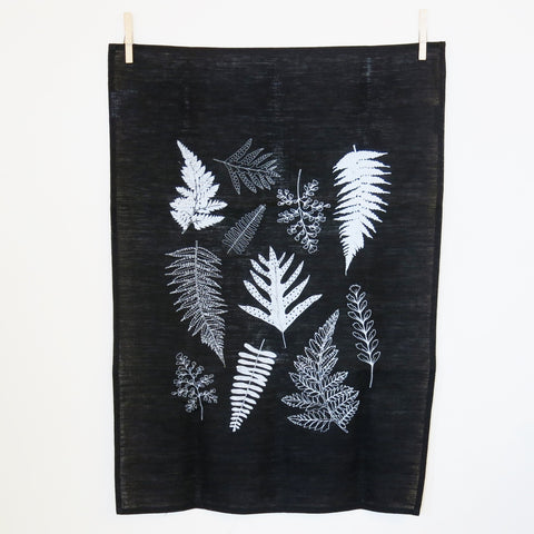 Black Fern Print Linen Tea towel