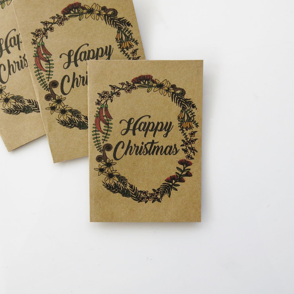 Mini Gift cards - Happy Holidays NZ nature wreath x 10