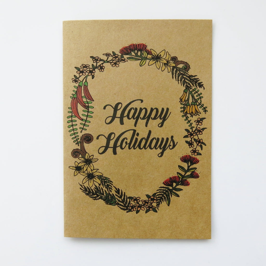 Gift card - Happy Holidays NZ nature wreath