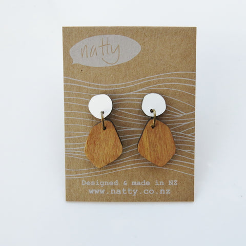 Coloured Laminate stud Hanging earrings
