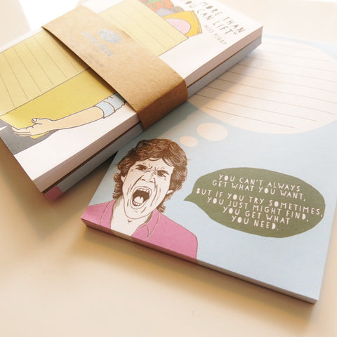 Note pad 2 pack - Never eat more and Mick Jagger