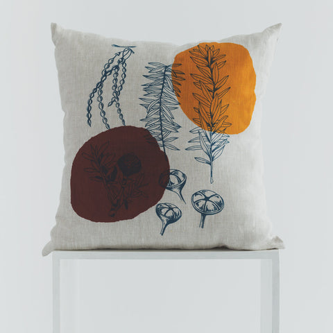 Nature Print Linen Cushion