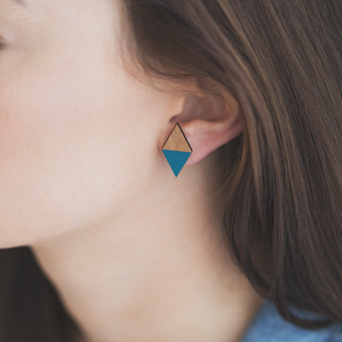 Diamond Recycled wood earrings