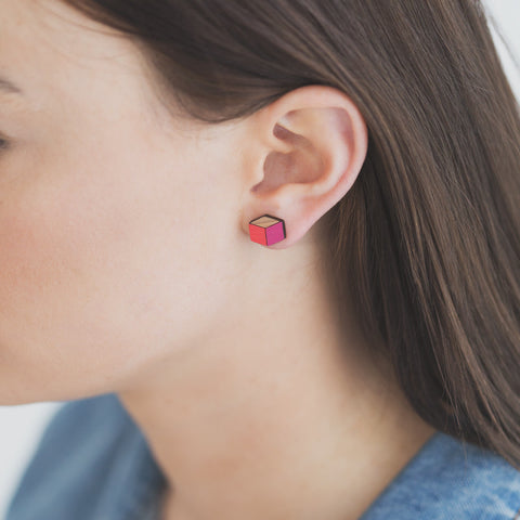 Cube Reclaimed rimu earrings