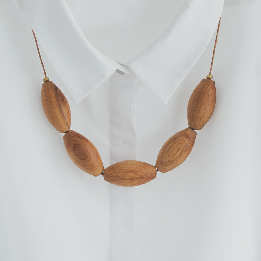 Oval Bead Necklace - Native NZ Reclaimed Heart Rimu