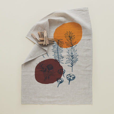 Nature Print Linen Tea towel
