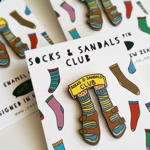 Socks and Sandals Club Enamel Pin