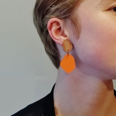 Large Rimu wood stud with Coloured Laminate Hanging earrings