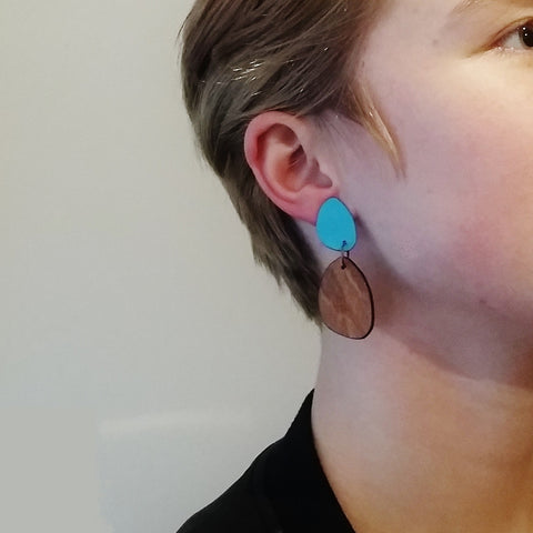 Large Coloured Laminate stud Hanging earrings