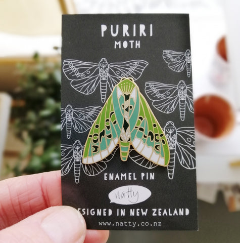 Puriri Moth enamel pin