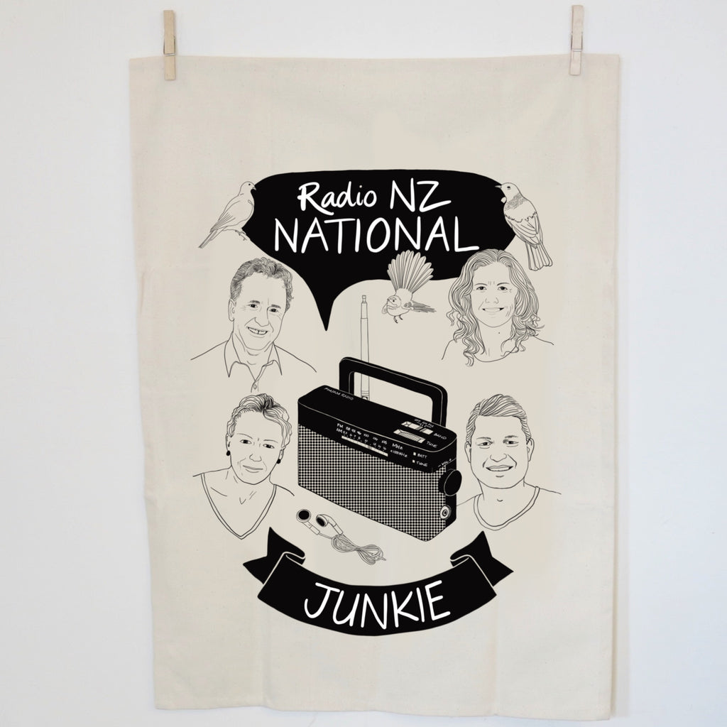 Radio NZ Junkie Tea towel