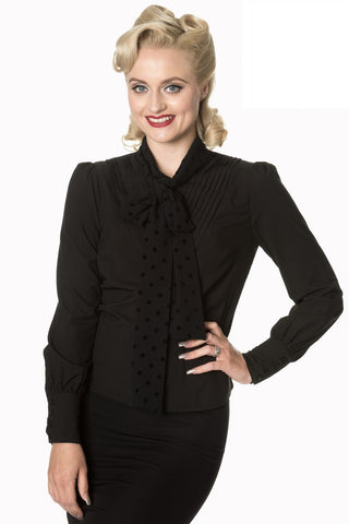 50s black business blouse