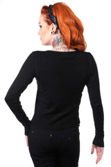 Banned Rockabilly Pinup Cherry Love Black knit Cardigan - Skelapparel - 2