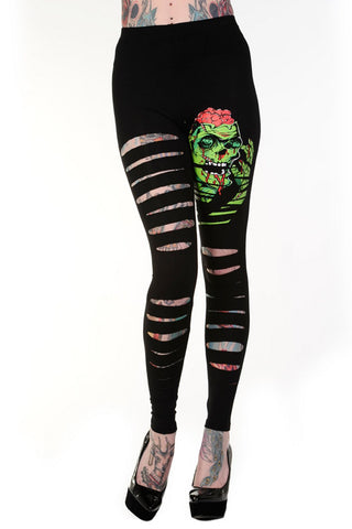 Goth Zombie Rock Cut up - Cut Out Sexy Ripped Look Slashed Zombie Leggings - Skelapparel
