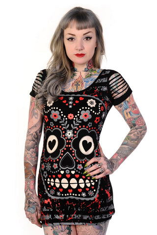 Rockabilly Gothic Candy Sugar Skull Print tops