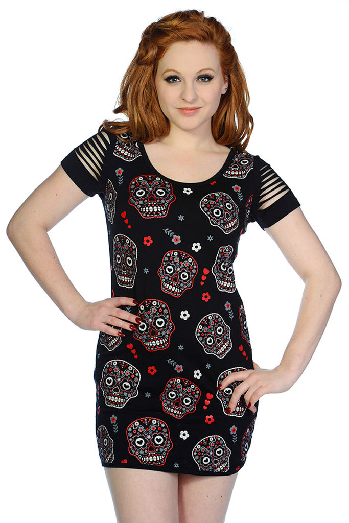 Banned Day of the Dead Flower Sugar Skull Allover Cut Out Shoulder Top - Skelapparel - 1