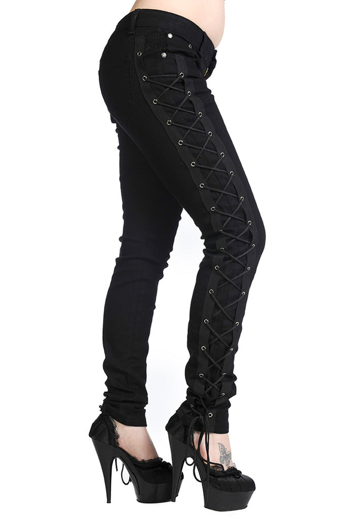 Banned Gothic Rockabilly Steampunk Cyber Black Side Corset Skinny Jeans Pants - Skelapparel - 1