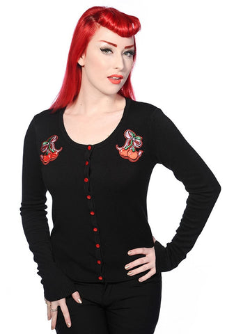 Banned Rockabilly Pinup Cherry Love Black knit Cardigan - Skelapparel - 1