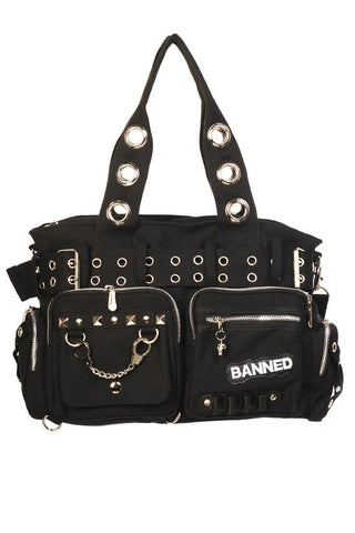 Banned Goth Punk Rock Black Military Belt Purse with Handcuff Skull Charm - Skelapparel - 1