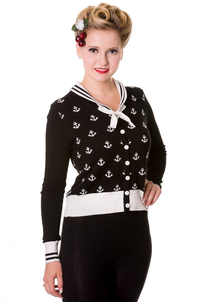 Sailor Pin-up Nautical Knit Anchor logo & White Bow two tone Black Cardigan - Skelapparel