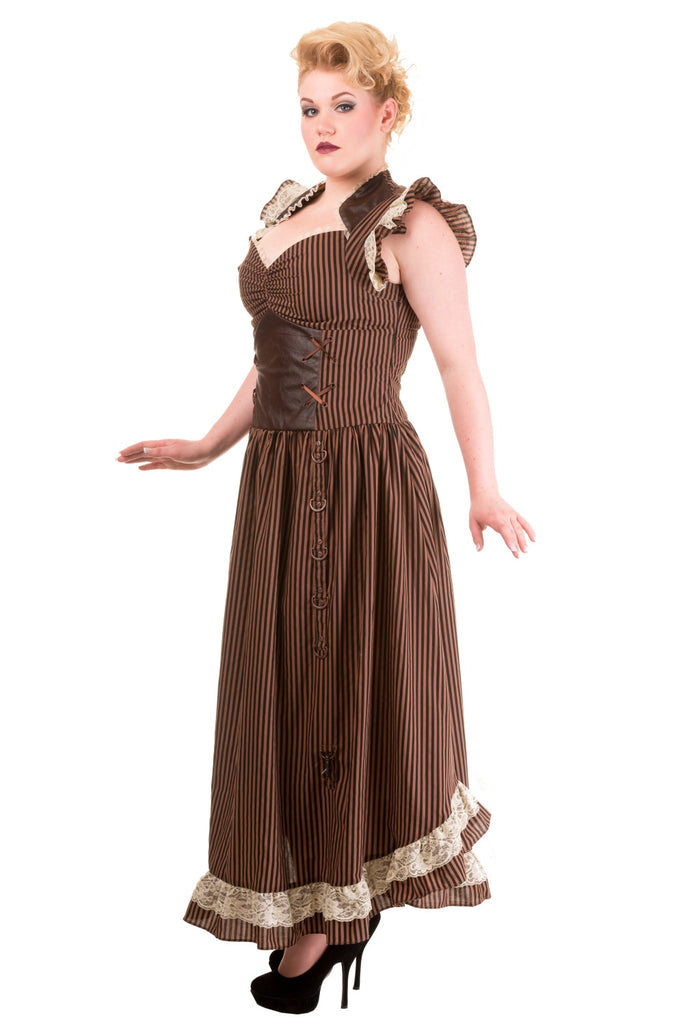 Long Maxi Brown Black Striped Steampunk Vintage Victorian Corset Dress - Skelapparel