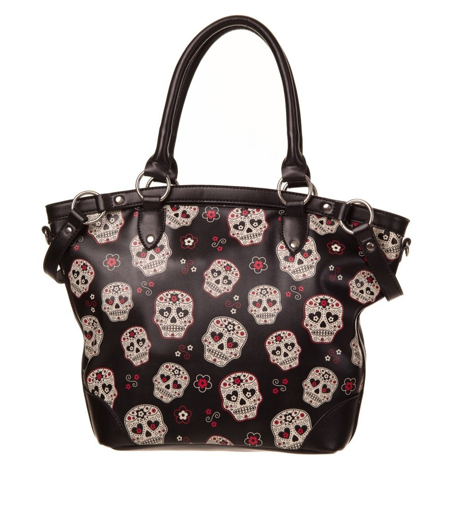 Day of the Dead Muertos Flower Sugar Skull Canvas Shoulder Bag - Skelapparel