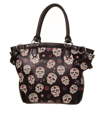 Banned Day of the Dead Muertos Flower Sugar Skull Canvas Shouder Bag - Skelapparel - 1