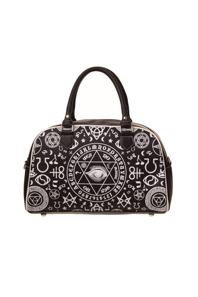 Banned Gothic Black Magic Occult Pentagram & Esoteric Symbols Bowler Bag - Skelapparel - 1