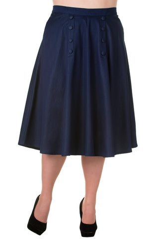 Banned Vintage Style High Waist Denim Double Button Panel A Line Midi Skirt - Skelapparel