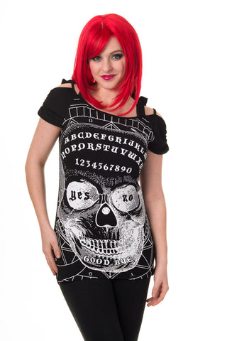 Goth Culture Ouija Skull Dark Magic Skull Face Cut Out Open Shoulder Top - Skelapparel