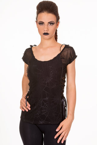 Banned Goth Emo Spooky Spider & Spiderweb Black Mesh Lace up Top - Skelapparel